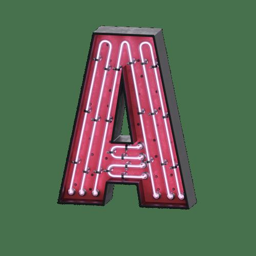 "Skylt i neon bokstav ""A"""